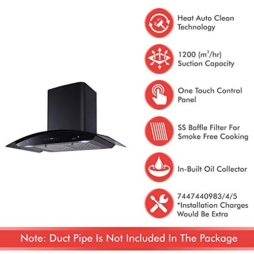 Elica 90 cm 1200 m3/hr Auto Clean Chimney (OSB HAC TOUCH BF 90 NERO, 2 Baffle Filters, Touch Control, Black)