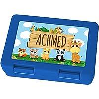Preisvergleich für Brotdose mit Namen Achmed - Motiv Zoo, Lunchbox mit Namen, Frühstücksdose Kunststoff lebensmittelecht