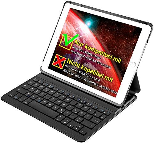 """Mit Tastatur Air Cases Ipad 2 (Inateck iPad Bluetooth Tastatur dt., Keyboard Case für iPad Air 2/iPad pro 9.7 (nicht kompatibel mit iPad 9.7""""(2017)), Smart cover mit aut. Wake/sleep Funktion und Multi-Angle Ständer schwarz)"""