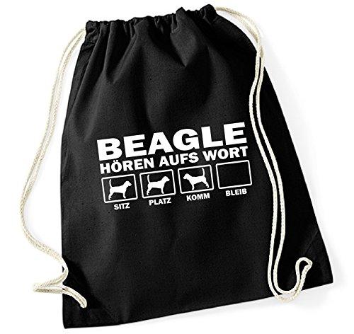 Siviwonder Turnbeutel - BEAGLE Jagd Jagdhund Jäger Baegle - HÖREN AUFS WORT Baumwoll Tasche Beutel schwarz -