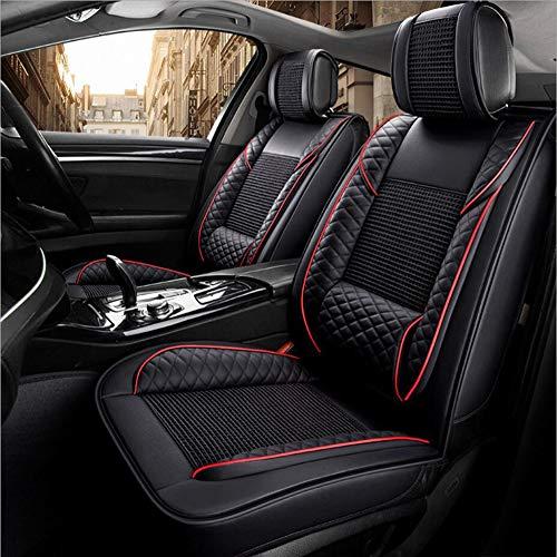 HRFHLHY Copertura seggiolino Auto Serie Audi 5 Sedile Auto coprisedile Traspirante/Vicino/Confortevole PU Cuoio & Ice Filo Cuscino Sedile Auto,Black,A5