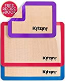 Kitzini Silicone Baking Mat Set (3) 2 Half Sheets + 1 Qtr Sheet - Professional Grade Non Stick Cookie Sheet