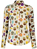 Dioufond Camisas Mujer Manga Larga Estampada de Animal Blusa lechuza (Marrón 36)