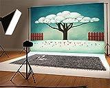 YongFoto 2,2x1,5m Vinyl Foto Hintergrund Karikatur Märchen Traum Like Obstbaum Holzzaun Fotografie Hintergrund für Fotoshooting Portraitfotos Party Kinder Hochzeit Fotostudio Requisiten