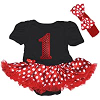 Bling 1st compleanno Stampa Body nero rosso bianco pois Baby Dress nb-18 m