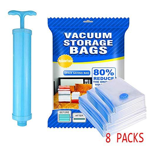 Hyaidertech 8 pezzi sacchetti sottovuoto vestiti, sottovuoto salvaspazio riutilizzabili da viaggio con diversi misure, con pompa a mano, per abiti,cappotti,piumoni,coperte,lenzuola