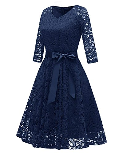 RAISEVERN Abito Donna Eleganti da Cerimonia Lunghi Manica a 1/2 Vestito Lungo Donna Estivo Abito da Sera XL