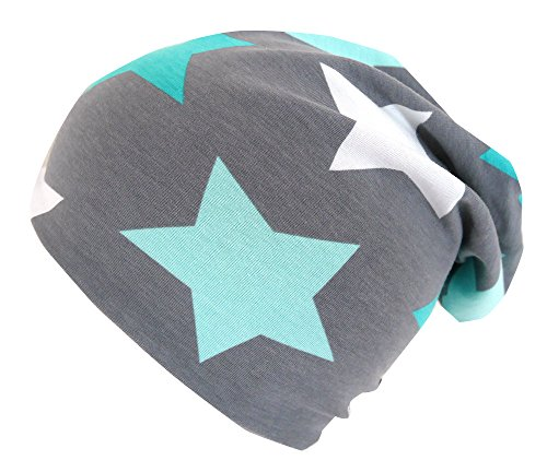 Hut, Mütze, Mint (Wollhuhn ÖKO Long-Beanie, Wende-Mütze, ganzjährig, Big Stars grau/Mint, Innenseite Uni grau, Mädchen und Jungen, 20150614 (XS: KU 42/46 (ca 6 Mon. bis 2 Jahre), Big Stars grau/Mint))