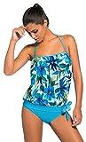 La vogue Ropa de Baño de Dos Piezas Tankini para Mujer Playa Top y Bañador Azul Flores Talla XL/Busto 91-106cm