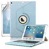 Boriyuan Ipad Pro 9,7 Hülle Bluetooth Tastatur, 360 Grad drehbar Leder Case Keyboard Schutz Tasche Cover mit Bluetooth Tastatur (Deutsche QWERTZ) für Apple iPad Pro 9,7 Zoll 2016 Modell Tablet-PC ( Farbe: Blau)