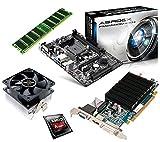 One PC Aufrüstkit | AMD A-Series A6-6400K, 2 x 3.90GHz | Richland | montiertes Aufrüstset | Mainboard: ASRock FM2A88M-HD+ | 4 GB RAM (1 x 4096 MB DDR3 Speicher 1600 MHz) | CPU Mainboard Bundle | Grafik: 2048 MB AMD Radeon R5 230 (1GB GDDR3 + 1GB Hypermemory | Passiv) DVI, HDMI, VGA