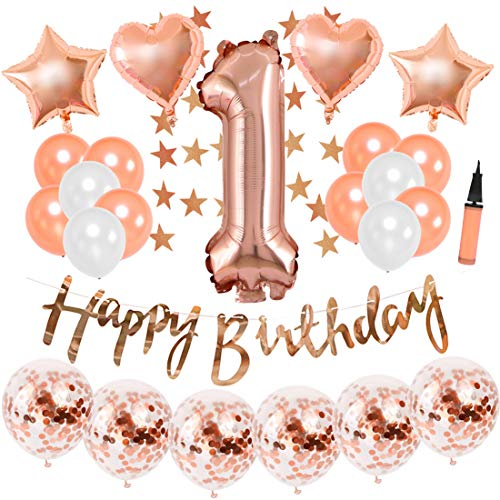 KREATWOW Rose Gold ersten Geburtstag Dekorationen für Mädchen Rose Gold Konfetti Ballons Nummer eins Folienballons hängende Sterne Girlanden