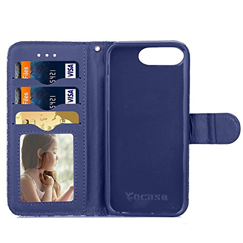 Wkae Case Cover Étui en cuir Wallet mixte Couleur PU Avec Cash Card slot Case Motif arc-en-stand pour Apple IPhone 7 Plus ( Color : Deongaree , Size : IPhone 7 Plus ) Deongaree