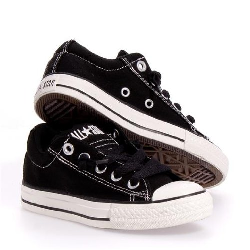 Converse Chuck Taylor Street Low Top Fashion Sneaker Shoe - Black - Boys - 2 Chuck Taylor Kids Top