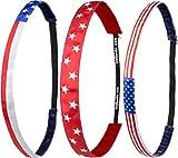 Ivybands ® - Das Anti-Rutsch Haarband   3-er Pack   American Stars and Stripes Edition II   NEU 2017 Stern Amerika USA Streifen Weiss Blau Rot   (1,6 - 1,9cm Breit) IVY520 IVY802 IVY803