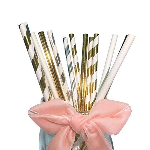 (Dekoration Papier Trinkende Strohhalme für Geburtstag, White Gold Silver Papier Trinkhalme Party)