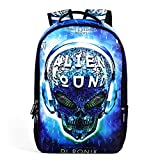 Alien Skull Schoolbag Laptop Backpack Travel Notebook Durable Rucksack Daypack for Mens and Women