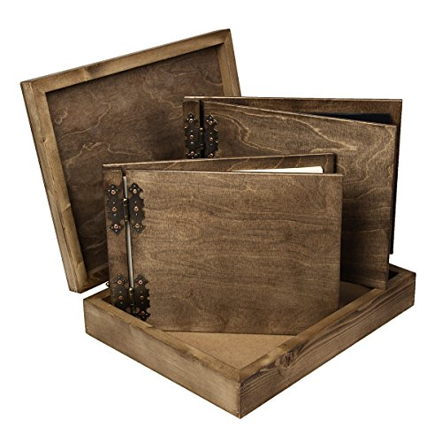 Deals For Photo album 25 black cards and guest book 200 pages in a box all in wood wedding on Amazon
