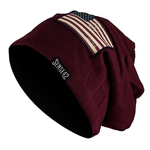 Sense42 | Long Beanie Jersey Mütze | lange Beaniemütze für Damen und Herren | in schwarz, dunkelgrau, hellgrau, oliv, bordeaux rot | Patch USA Flagge