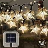 Catena Luminosa Solare,7M 50 LED Stella Stringa Luci da Esterno Impermeabile Luce Stringa di Fata Decorative per Natale Giardino Matrimonio Festa (giallo)