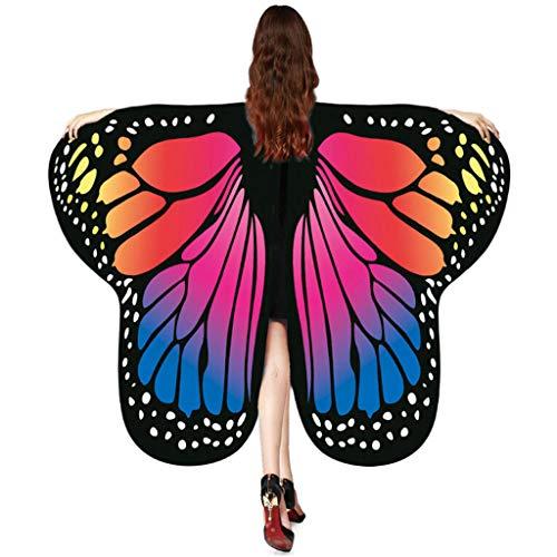 Kostüm Fee Mitternacht - QIMANZI Schmetterling Kostüm Weiches Gewebe Schmetterlingsflügel Schal Fee Damen Nymph Pixie Kostüm Zubehör für Show/Daily/Party Cosplay Kostüm Zusatz(Dunkelblau)