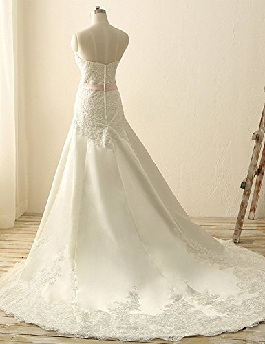 JAEDEN Donne Senza spalline Abiti da sposa Lungo Raso Vestito da sposa con appliques Bianco