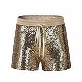 Pailletten Shorts Luckycat Modische Sommerhosen Damen Elastische Taille Pailletten Nacht Club Shorts Hose Sommerhosen Pants Hosen (Gold, Small)