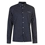 Pierre Cardin Patterned Slim Fit Stretch Long Sleeve Shirt Mens (Navy/White Geo, Medium)