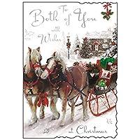 "Jonny Javelin Both Of You Christmas Card - Horses, Carriage & House 9"" x 6.25"""