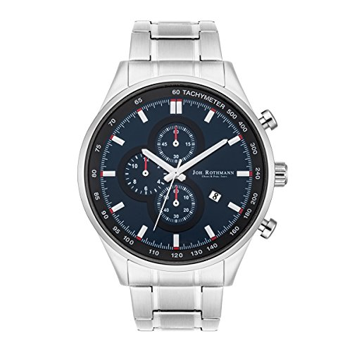 Joh. ROTHMANN Gandolf Men's Chronograph Watch Silver Strap Stainless Steel Waterproof 5 ATM