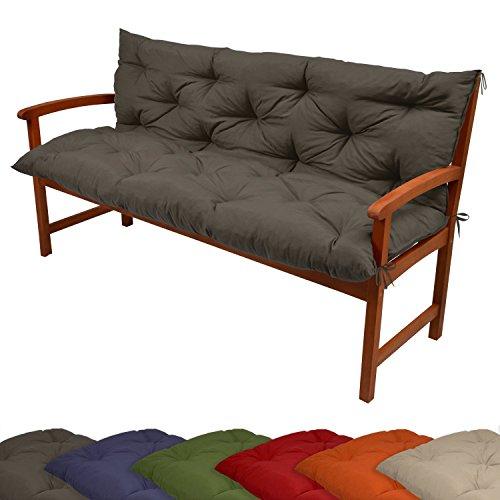 Beautissu Coussin pour banc de jardin, terrasse, balcon Flair BR - balancelle - Banquette - Assise confortable - 120x100x10 cm - Anthracite