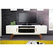ACTUAL DIFFUSION Meuble TV Blanc 2 Portes 4 Pieds Chêne Vintage, 40x120x45  cm d4dd565daac0