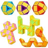 Lukiny 12 Packung 24 Blöcke Mini Schlange Würfel, Magische Geschwindigkeit Würfel, Mini Puzzle Würfel Spielzeug für Kinder Party Tasche Füllstoff Party Favors Party Supplies Zufällige Farbe