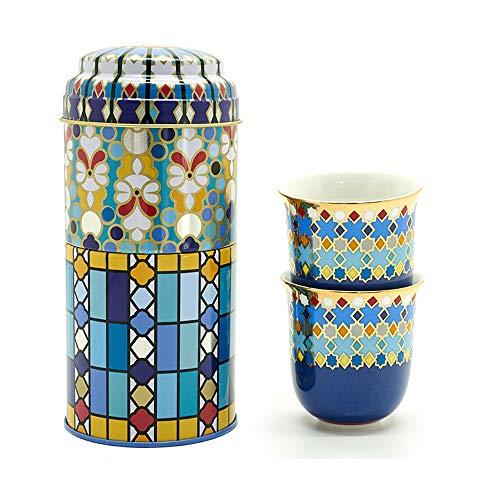 Images d'Orient Geschenkset 2 in 1 Metalldosen mit 2 x 90ml Espressotassen Espressobecher Moccatassen bunt arabisch Gemustert