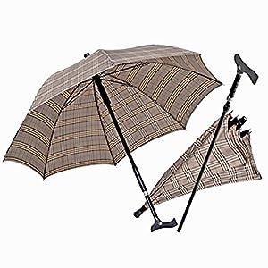 2 in 1 Gehstock mit Schirm | Hell | Gehhilfe | Laufhilfe | Alltagshilfe | Regenschirm | Spazierstock