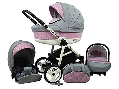 Kinderwagen BABYLUX ALU WAY ROSA, 3 in 1- Set Wanne Buggy Babyschale,Muffe