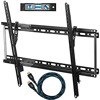 Cheetah APTMM2B TV Wall Mount for 20-80Inch TVs,VESA 600 and 165lbs, and fits 23.6Inch And 15.7Inch, includes a Tilt TV Bracket, a 10ft Twisted Veins HDMI Cable, 6Inch 3-Axis Magnetic Bubble Level
