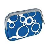 vyvy mobile stylische Neopren Universal Kameratasche für Kompaktkameras CIRCLES Blau