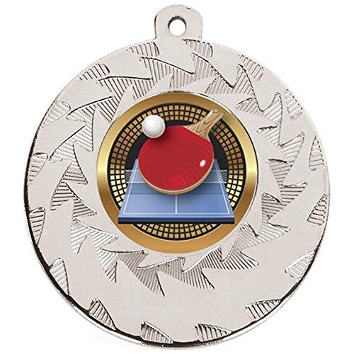 50mm silber Tischtennis Medaille Schwergewicht mit Schleife und Gratis Gravur bis zu 30Buchstaben