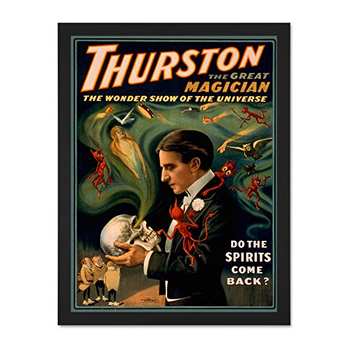 Doppelganger33 LTD Theatre Vaudeville Thurston Magic Stage Show USA Picture Large Framed Art Print Poster Wall Decor 18x24 inch Supplied Ready to Hang - Thurston Hängen