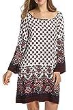 HOTOUCH Damen Bohemian Tunika Strandkleid Sommerkleid Minikleider Tunikakleid Bohemian Strandtunika mit Rundhalsausschnitt