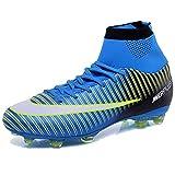 KAMIXIN Chaussures de Football Homme High Top Adulte Professionnel Chaussure de Foot Antidérapant Athlétisme Entrainement Adolescents Chaussures de Sport Bleu 41EU