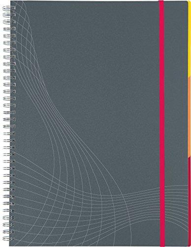 AVERY Zweckform 7017 Notizbuch notizio (A4, Kunststoff-Cover, Doppelspirale, kariert, 90 g/m²) 90 Blatt, grau, 1 Stück (Notebook Journal Kleines)