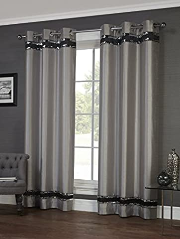 Savoy Silver Ring Top / Eyelet Fully Lined Readymade Curtain Pair 46x54in(116x137cm) Approximately By Hamilton McBride®