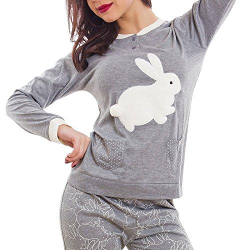 Toocool - Pigiama donna CONIGLIO bunny maniche lunghe kawaii pantaloni nuovo BE-7654 Grigio