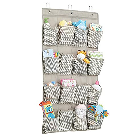 mDesign étagère de rangement à suspendre – parfait comme organiseur de chambre de bébé – le meuble de rangement idéal en tissu, à utilisation multiple – avec 16 sections, couleur : taupe / nature