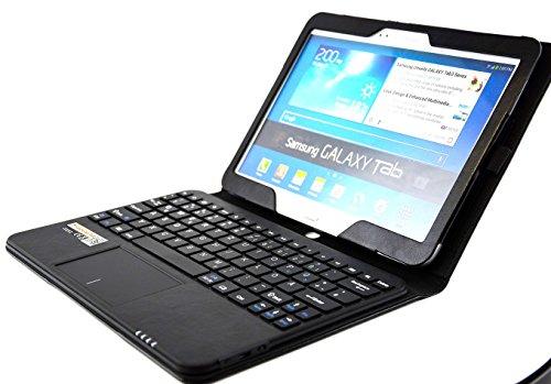 MQ für Galaxy Tab 4 10.1 - Bluetooth Tastatur Tasche mit Multifunktions-Touchpad | Hülle mit Bluetooth Tastatur und Touchpad für Samsung Galaxy Tab 4 10.1 LTE SM-T535, WiFi SM-T533, WiFi SM-T530 | Layout: Deutsch | Schwarz
