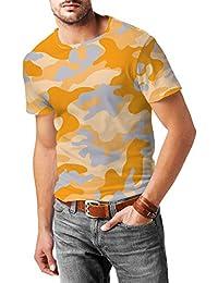 Camuflaje Brillante Naranja para Hombre Mezcla de Algodón T-Shirt