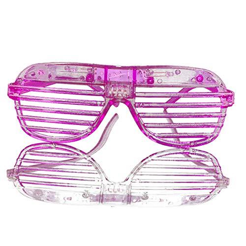 NiceButy 2Pcs im Dunkeln leuchten LED-Gläser Masse leuchten Rave Glasses Halloween Neon Party Supplies Bevorzugungen, Shutter Shades Brille Purple (mit Akku)