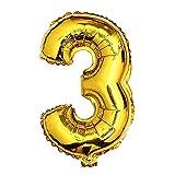 Glanzzeit 45cm Golden Luftballons Buchstaben A zu Z Zahlen 0 zu 9 Geburtstag Jubiläum Hochzeit Babyparty Deko Ballons (Zahl 3)